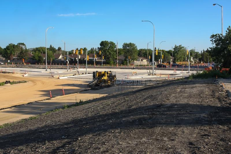 Waverley Street Underpass Construction June 2019. Winnipeg manitoba  canada. Looking north on to waverley street.Early morning stock image