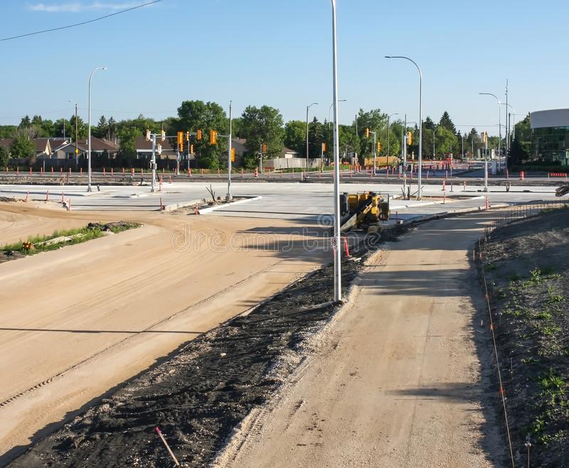 Waverley Street Underpass Construction June 2019. Winnipeg manitoba  canada. Looking north on top of the rail bridge in the early morning stock photos