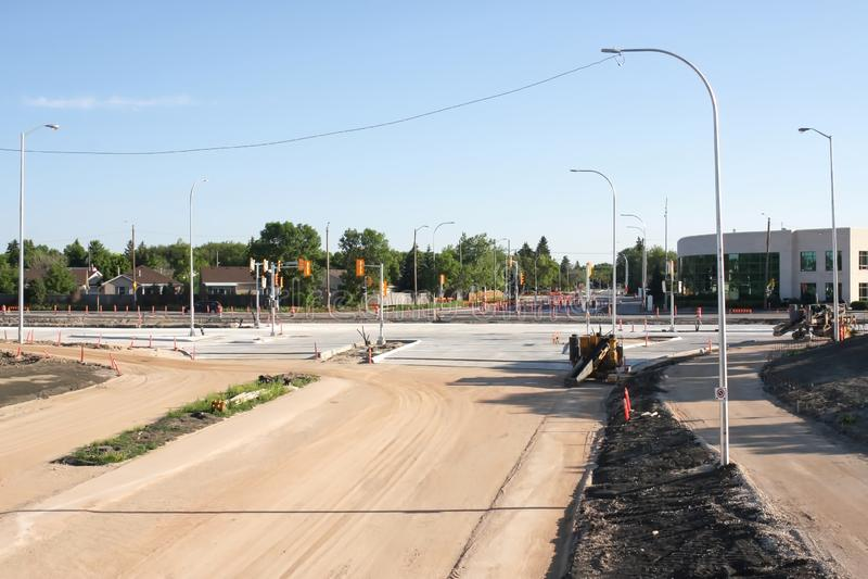 Waverley Street Underpass Construction June 2019. Winnipeg manitoba  canada. Looking north on top of the rail bridge stock photo