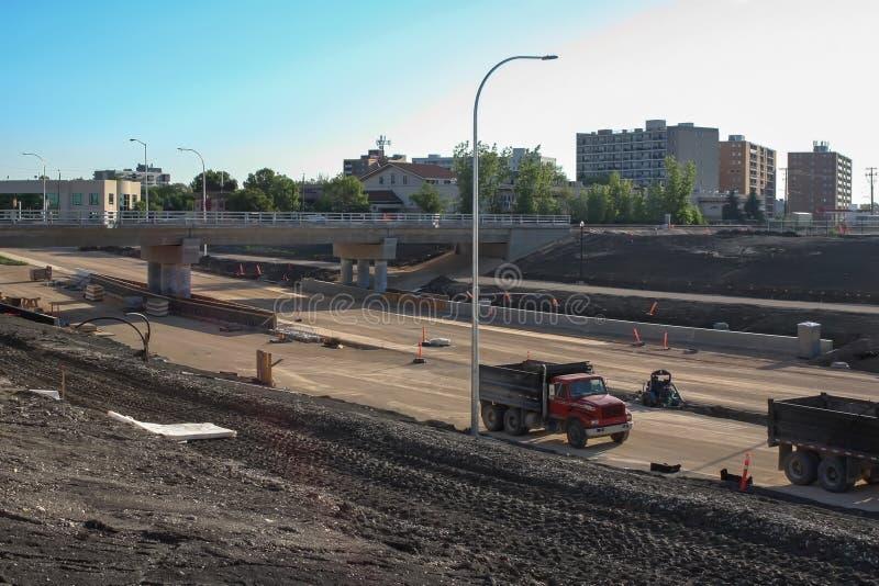 Waverley Street Underpass Construction June 2019. Winnipeg manitoba  canada. Looking north on waverley street rail bridge in background stock image