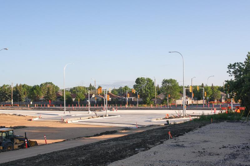 Waverley Street Underpass Construction June 2019. Winnipeg manitoba canada.Looking north waverley street road works in process royalty free stock images