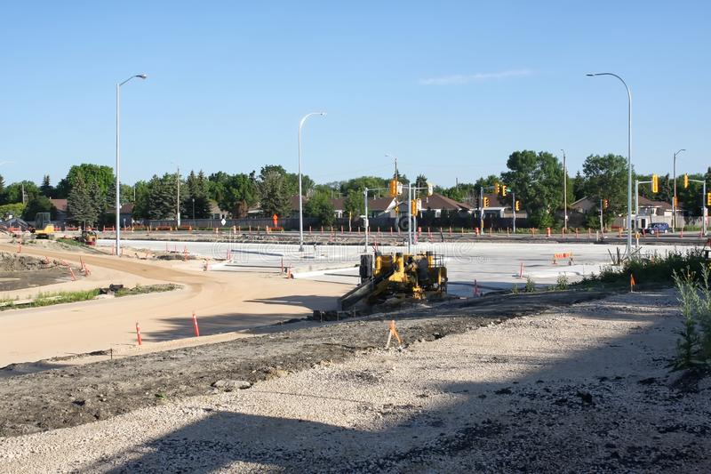 Waverley Street Underpass Construction June 2019. Winnipeg manitoba  canada. Looking north  on waverley street royalty free stock image