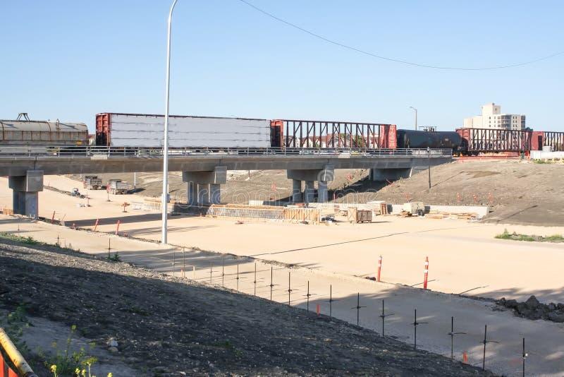 Waverley Street Underpass Construction June 2019. Winnipeg manitoba  canada. Looking south on waverley street preparing for sidewalk work completed rail bridge stock photos