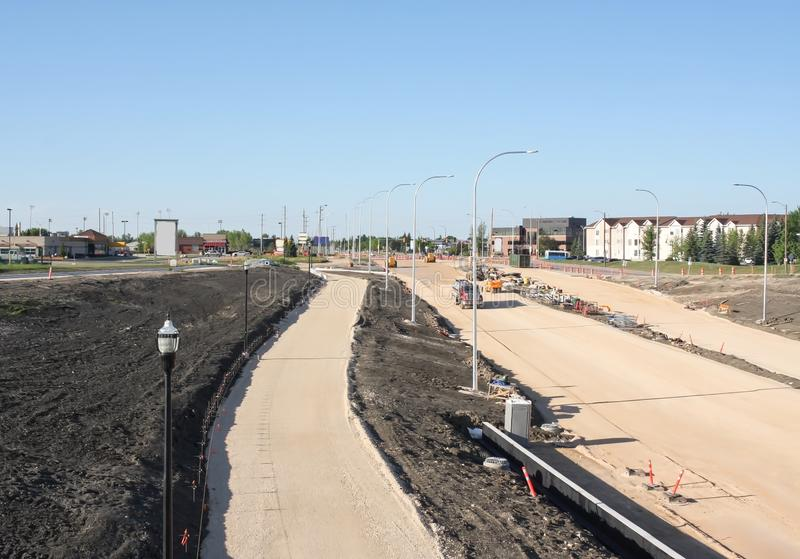Waverley Street Underpass Construction June 2019. Winnipeg manitoba  canada. Looking south on top of the rail bridge in the early morning royalty free stock photo