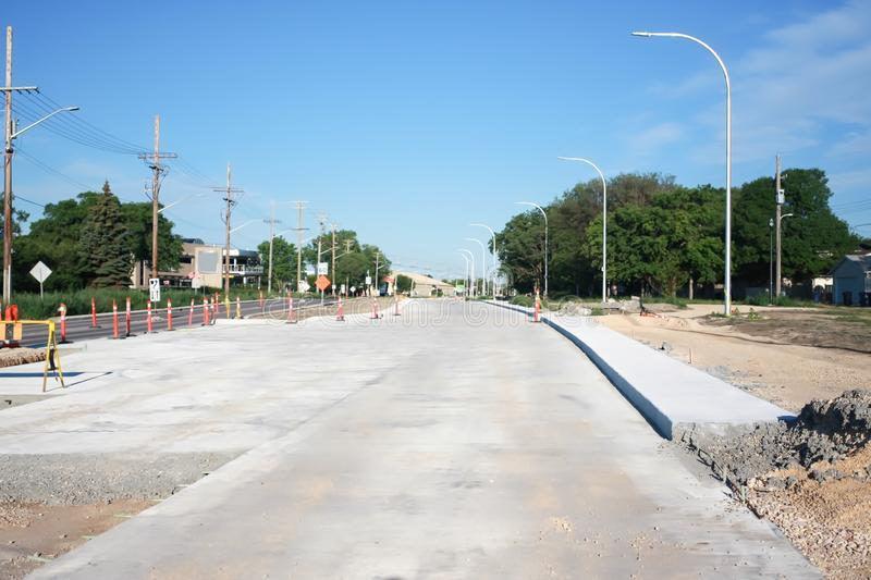 Waverley Street Underpass Construction June 2019. Winnipeg manitoba canada.Looking west on taylor avenue, road works in process stock images