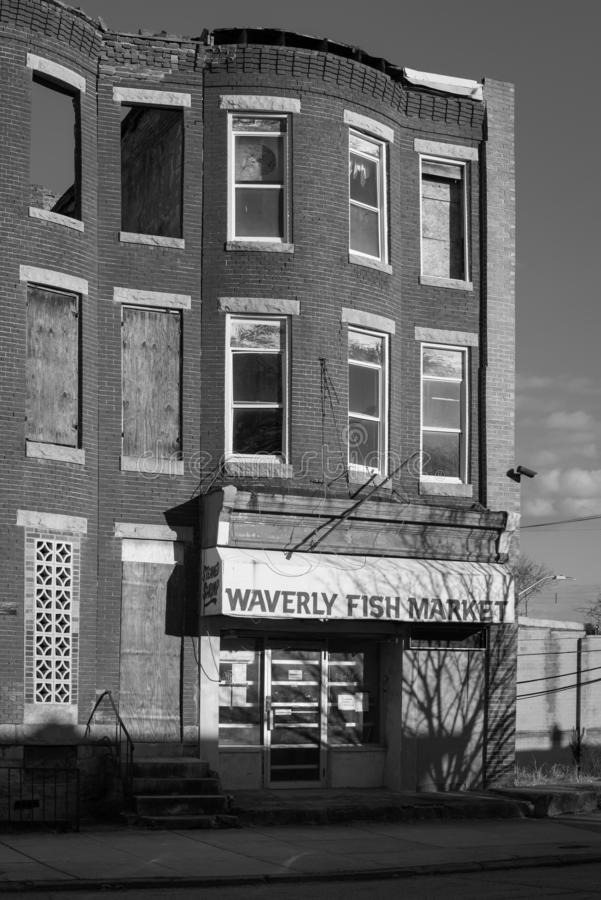 Waverly鱼市,在巴尔的摩,马里兰 免版税库存照片