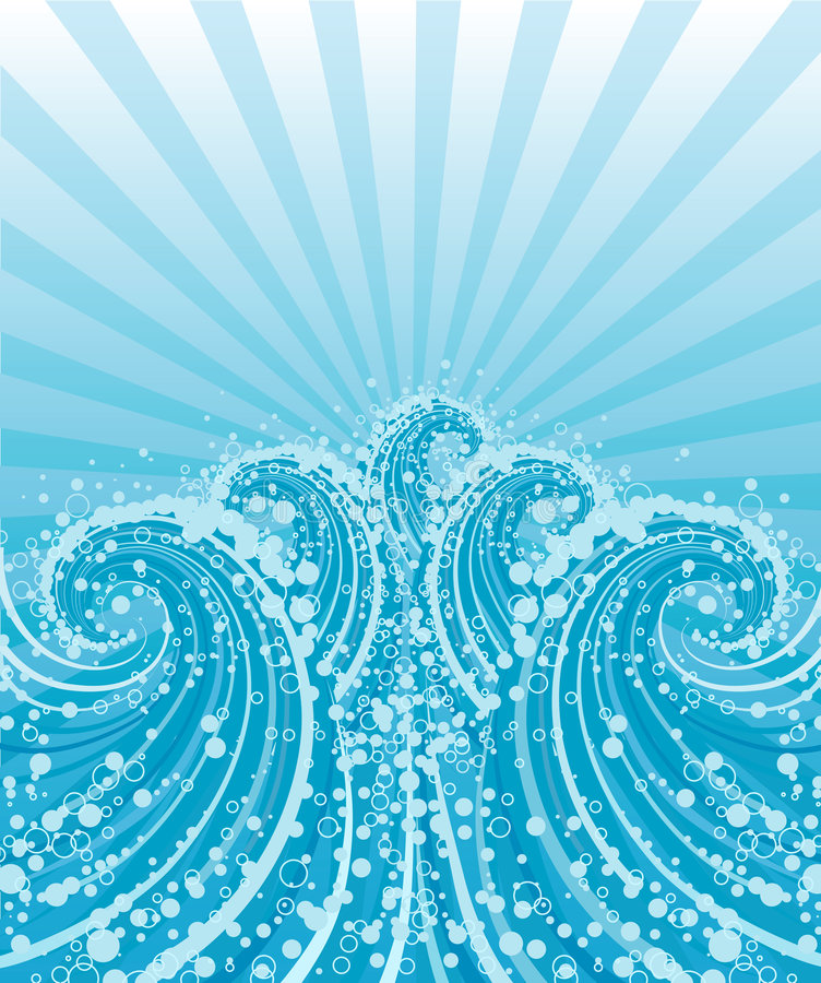 Waves. Waves, sun, bubbles. Vector illustration