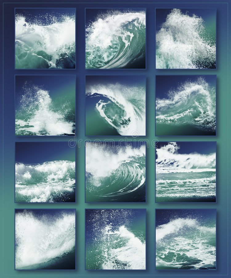 Waves. Illustration of crashing waves on a oceans beach in a beautiful layout royalty free illustration