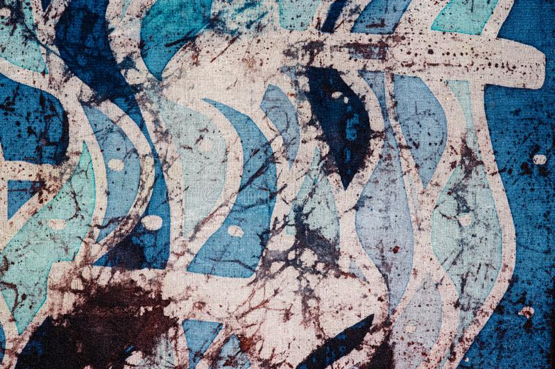 Waves and arrows, hot batik, background texture, handmade on silk, abstract surrealism art royalty free stock photo