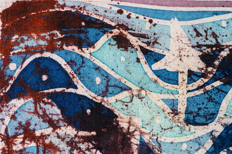Waves and arrows, hot batik, background texture, handmade on silk, abstract surrealism art royalty free stock images