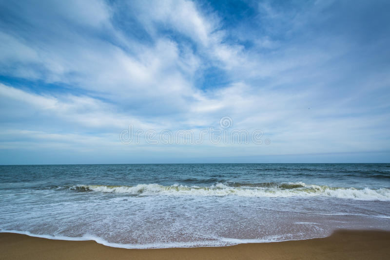 Waves in the Atlantic Ocean at Cape Henlopen State Park, in Rehoboth Beach, Delaware. royalty free stock photos