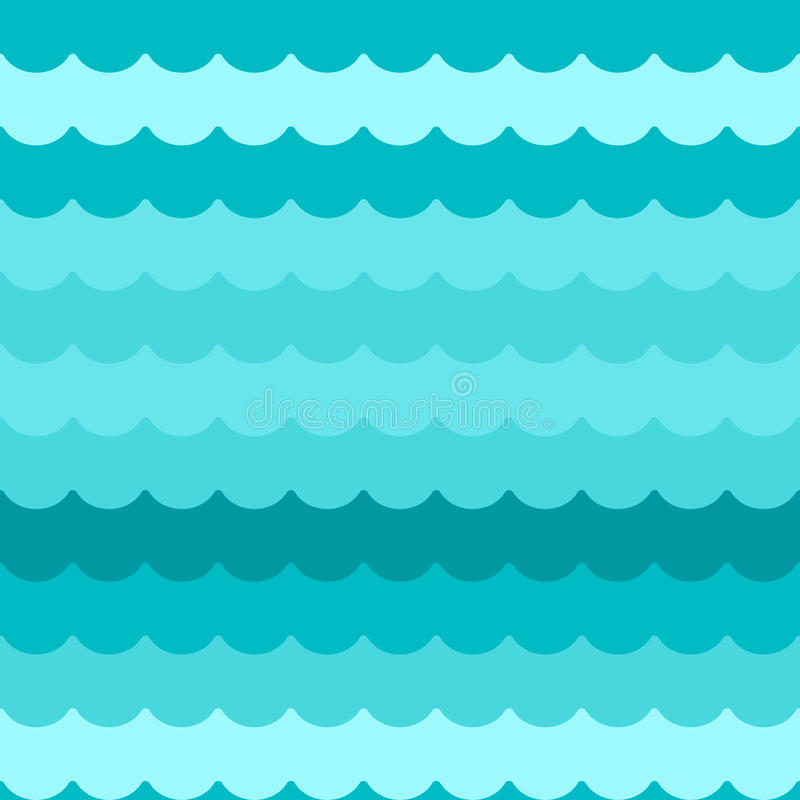 Waves background seamless vector, blue flat wave pattern repeated seamlessly stock illustration