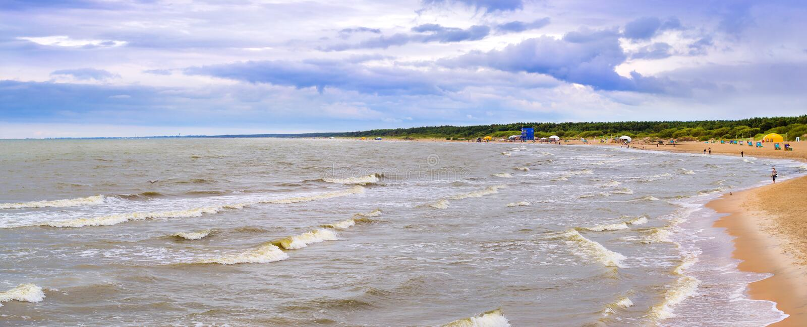 Waves on Baltic sea in resort Palanga, Lithuania stock images