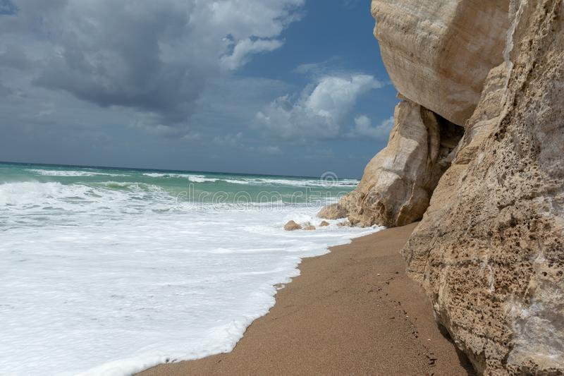 Waves in a bay of the Aegean Sea in Rhodes royalty free stock photography