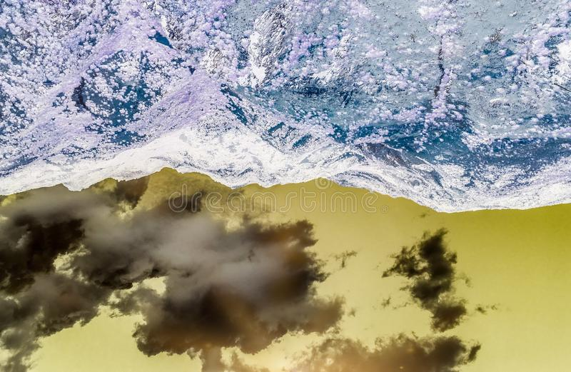 Waves beach sea mountains abstract stock photography
