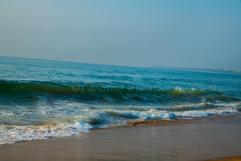Waves at beach sea water motion blur royalty free stock images
