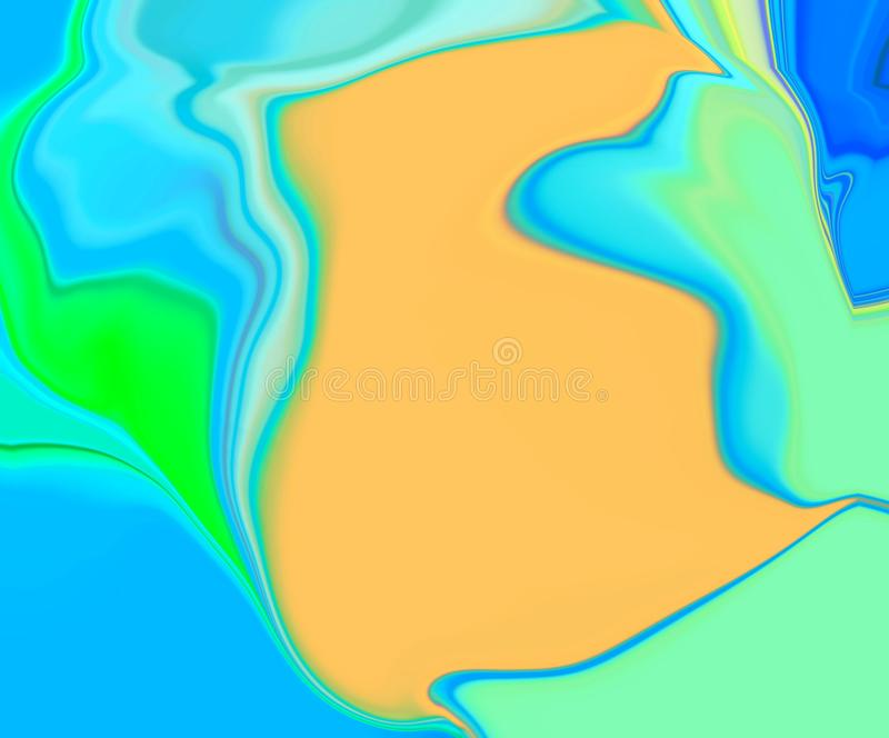 Waves beauty backgroud.Blue and yellow paint texture. Modern blue and yellow wavy background for your designs.Abstract color paint waves wallpaper.Fashion stock illustration
