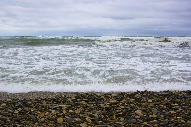 Waves of the Black Sea during a storm. And blue sky stock photography