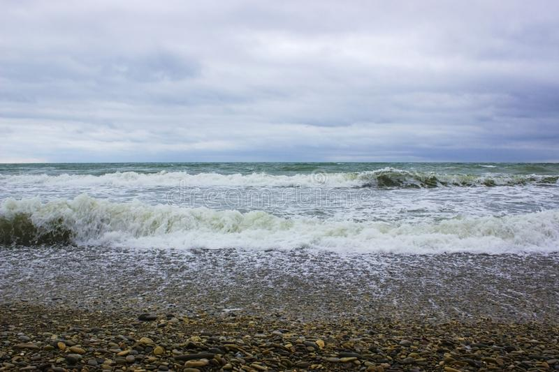 Waves of the Black Sea during a storm. And blue sky stock photos