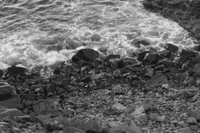 Waves in black and white stock photography