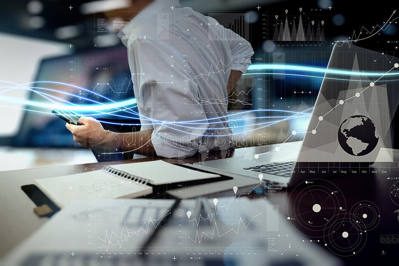 Download Waves Of Blue Light And Businessman Using On Laptop Stock Image - Image of backup, information: 61709801