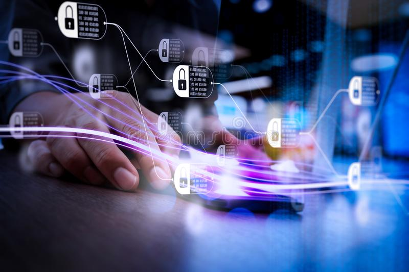 Waves of blue light and businessman using on smartphone as concept. Blockchain technology concept with diagram of chain and encrypted blocks. Waves of blue light stock photos