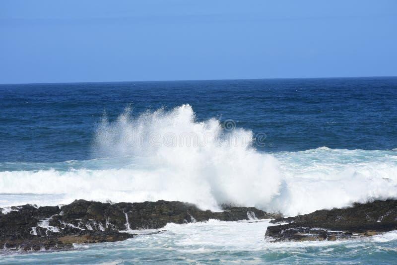 Rough Seas, Tsitsikamma National Park, South Africa. Waves breaking against rocks - rough seas, Tsitsikamma National Park, South Africa royalty free stock photos