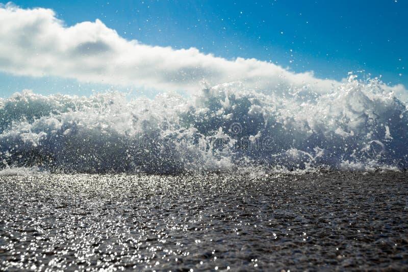 Waves breaking on the beach of Antogafasta, Chile. Low angle shot of the waves breaking on the beach of Antogafasta, Chile royalty free stock image