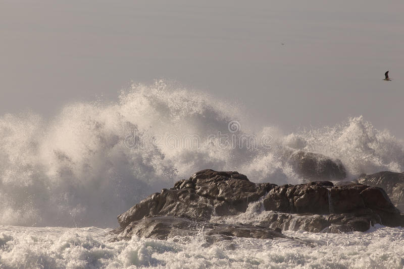 Waves breaking over cliffs stock photos