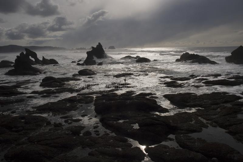 Waves Breaking On Rocky Coast At Dusk Free Public Domain Cc0 Image