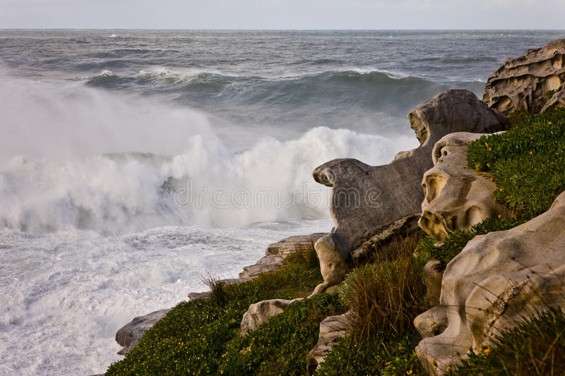 Download Waves Breaking On A Rocky Shoreline Stock Image - Image: 31299081