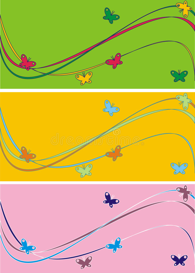 Download Waves and butterflies stock vector. Illustration of pattern - 3134184