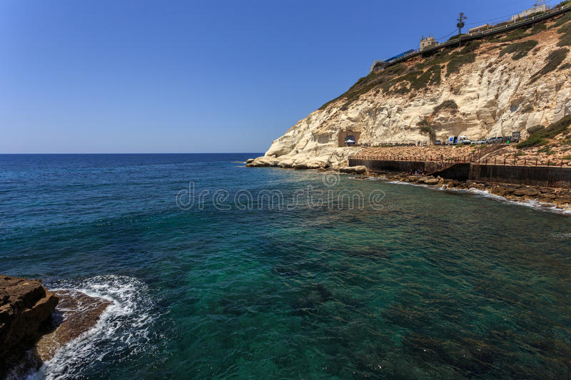 Waves and cliff at Rosh Hanikra reserve in Israel. Waves and cliff at Rosh Hanikra reserve stock photos