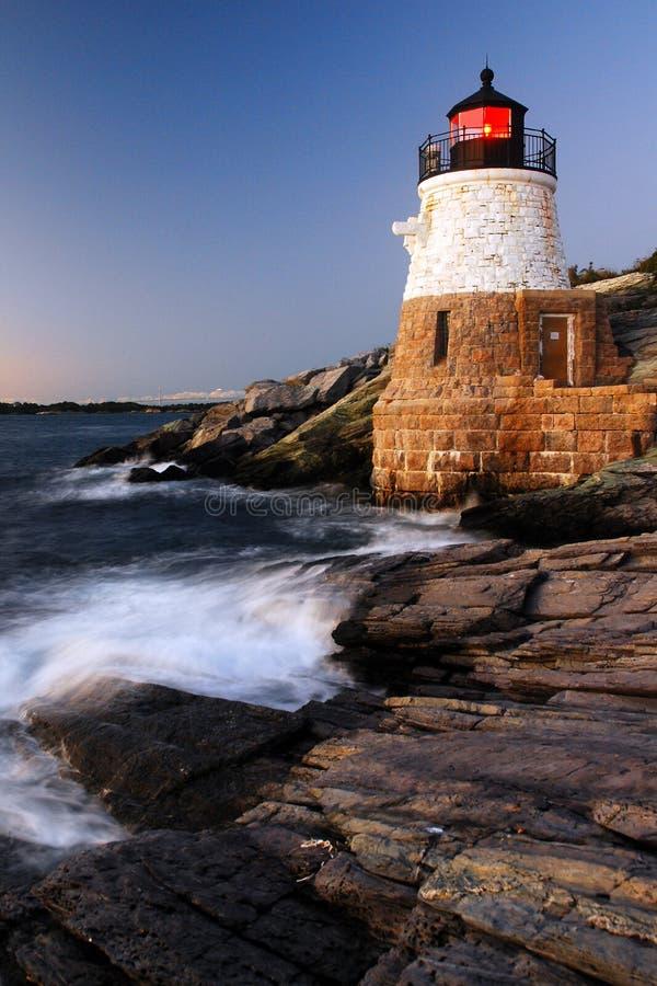 Dusk, Castle Hill Lighthouse stock photo