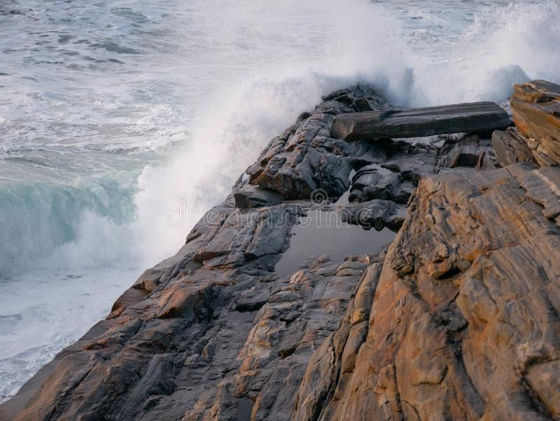 Waves crash upon Pemaquid Point stock image