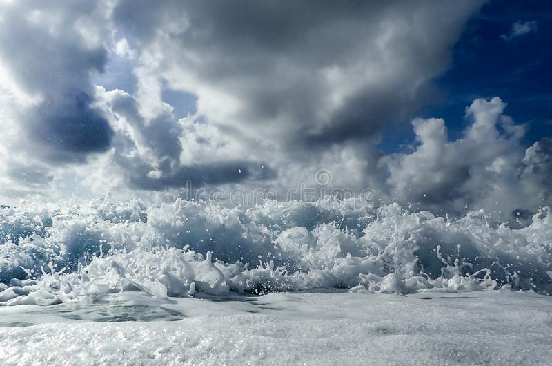 Waves crashing onto the beach in Florida`s Atlantic Ocean stock photography