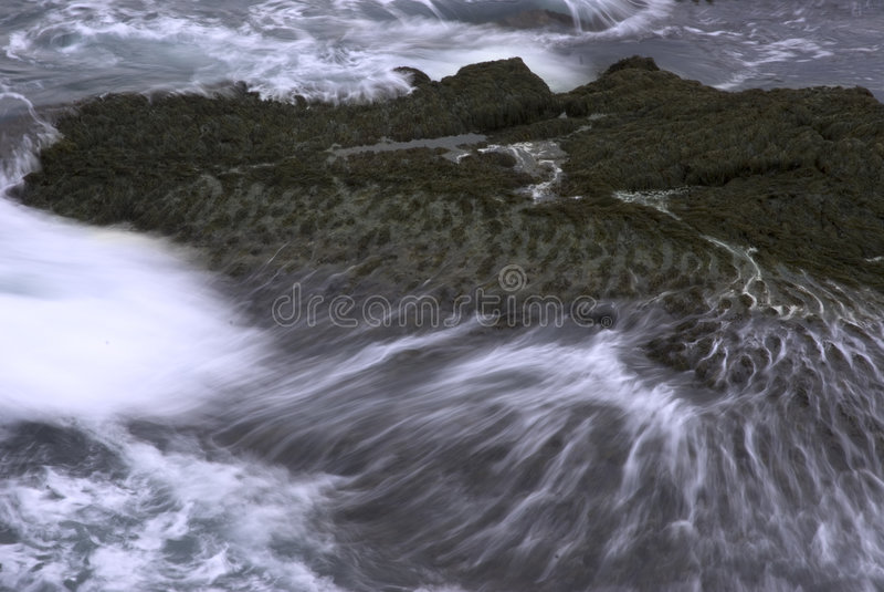 Waves crashing on rocks. A waves crashing on rocks on the coast of Maine stock photo