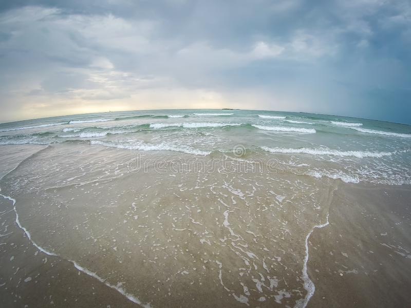 Waves crashing on wrightsville beach before the storm stock image