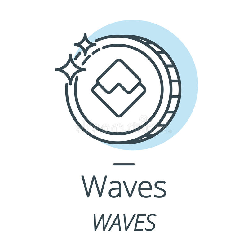 Waves cryptocurrency coin line, icon of virtual currency. Vector stock illustration