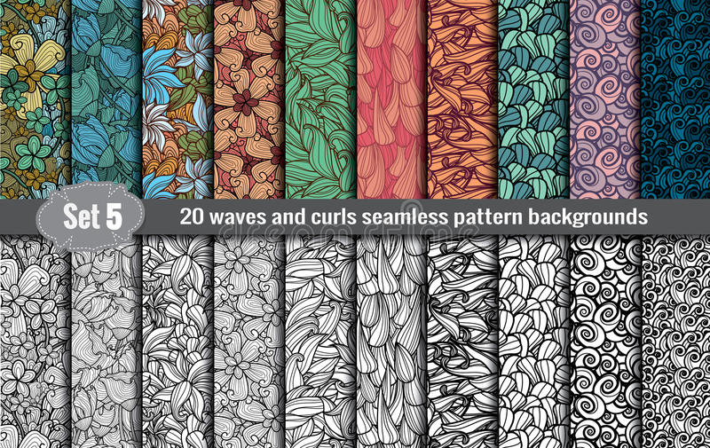 Waves and curls seamless pattern stock illustration
