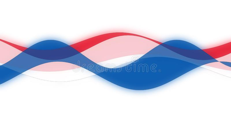 Waves curves of blue red white color stock images