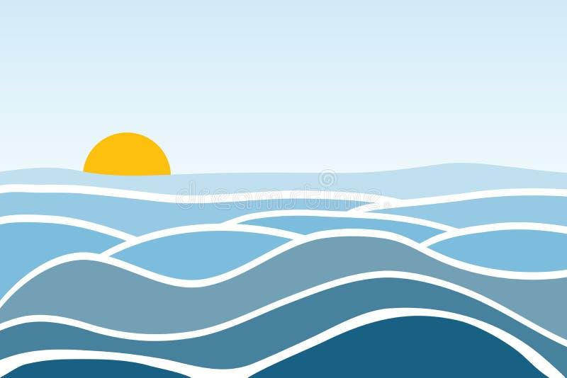 waves för textur för hav för illustrationsdesign naturliga Soluppgång mot bakgrunden av havet och vågorna stock illustrationer