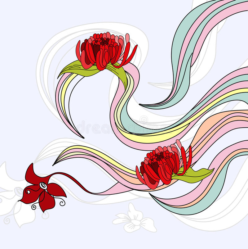 Waves with flowers. Colorful illustration royalty free illustration