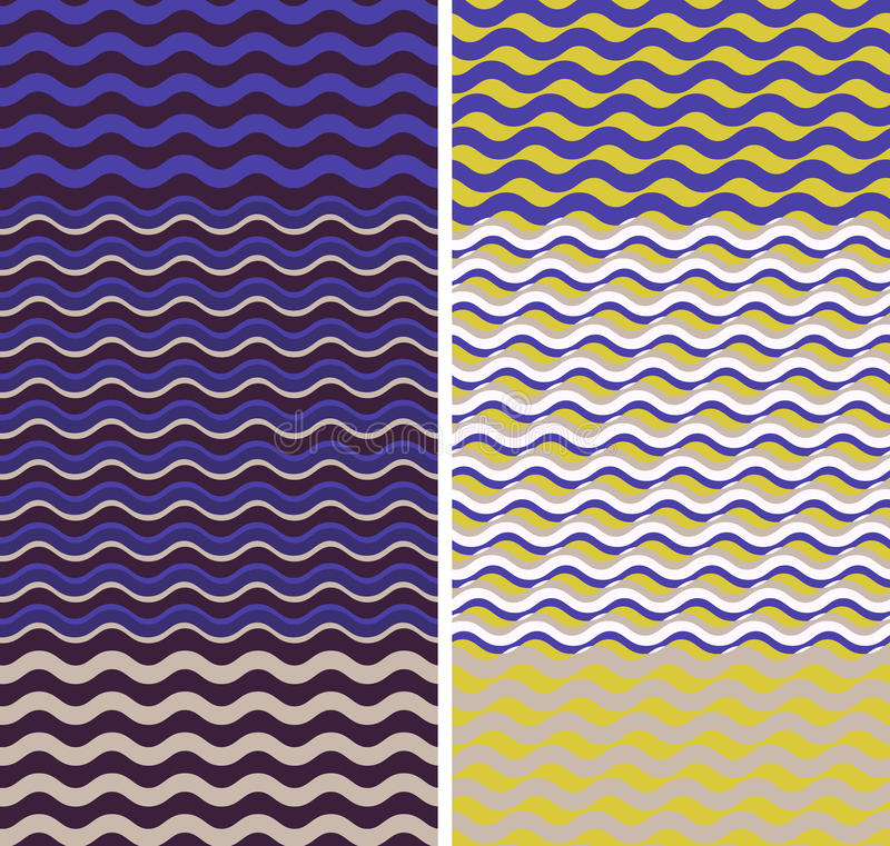 Waves - geometric seamless patterns vector illustration