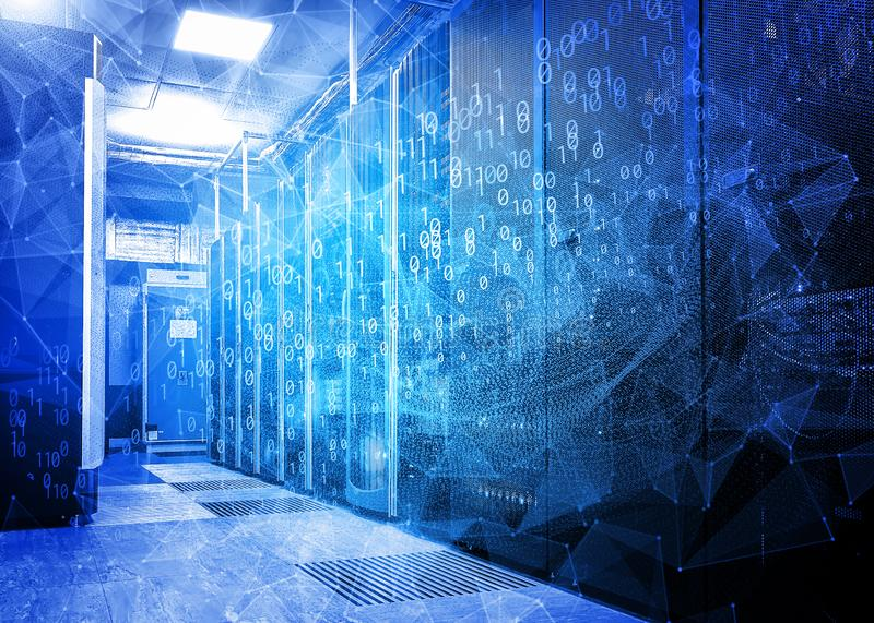 Waves of information flows with triangles and particles in the server room of the data center. The concept of hacker attacks and d. Futuristic modern server room stock images