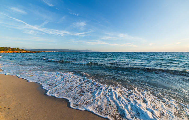 Waves in Le Bombarde. Small waves in Le Bombarde beach, Sardinia royalty free stock photos