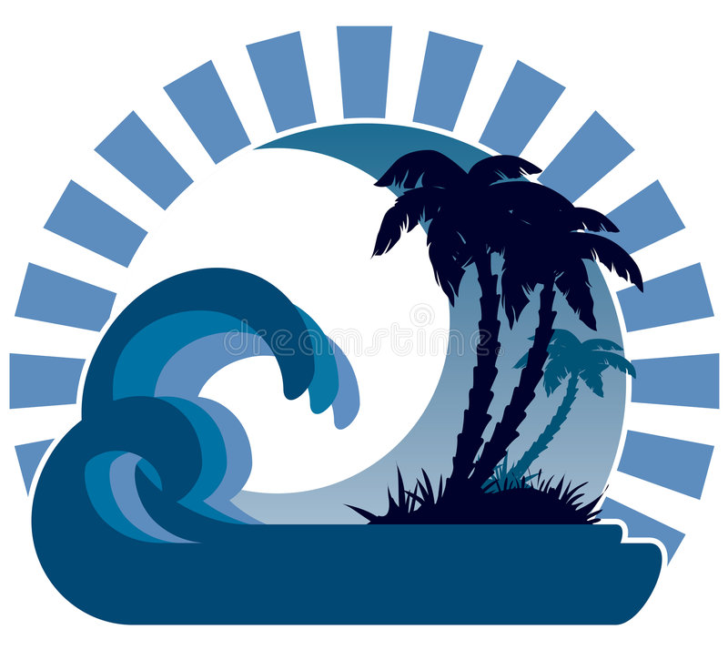 Waves, moon, tropical island. Surfing waves, tropical island, palm trees on a beach vector illustration