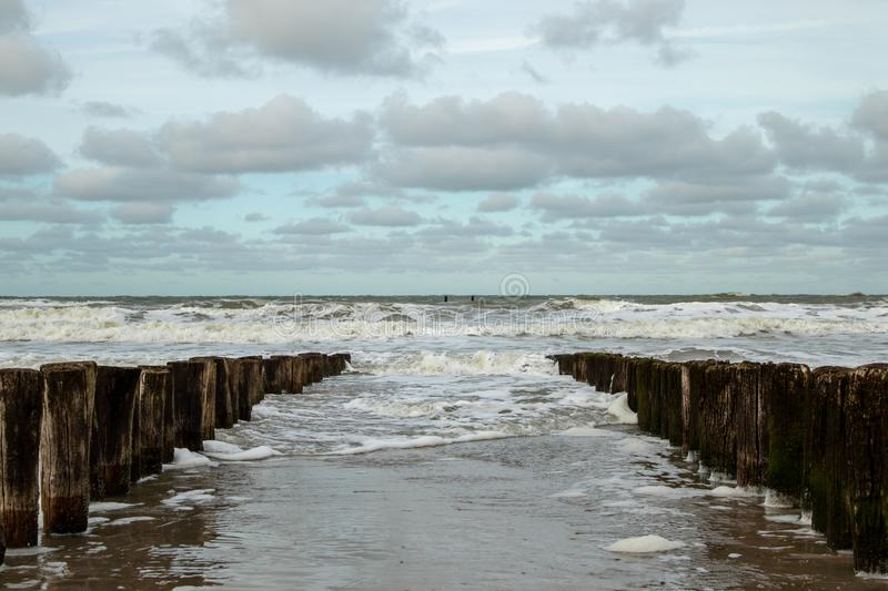Waves of the North Sea on the beach stock images