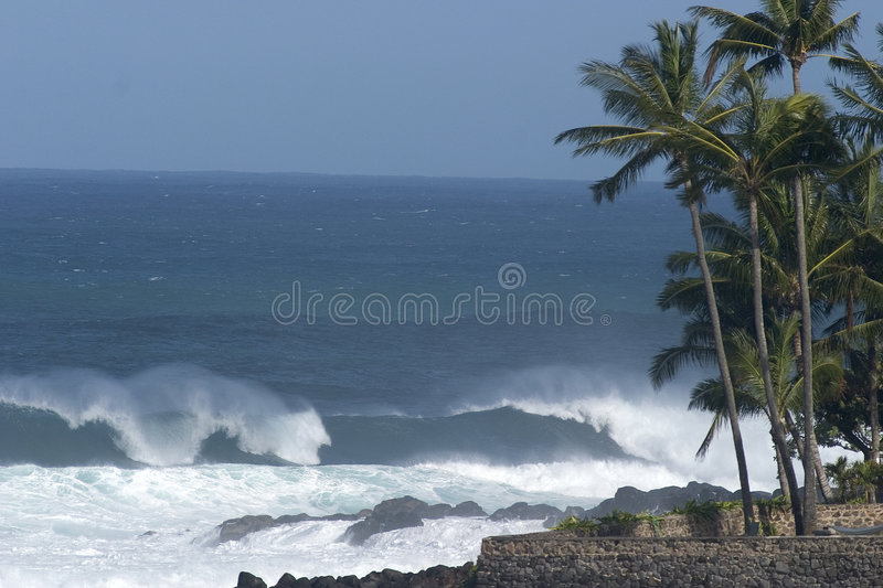 Waves on the Northshore in Hawaii, Waimea Bay royalty free stock photos