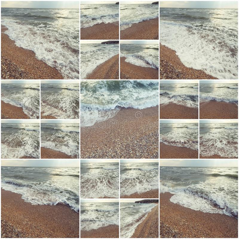Waves Of Ocean On Sandy Beach. Background. Selective focus. Collage of many photos colorized instagram style.  royalty free stock images
